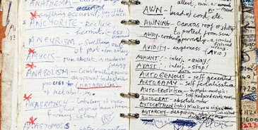 Nick Cave's 'Handwritten dictionary of words', from his 1984 notebook, from Art & Australia's Spring 2008 issue