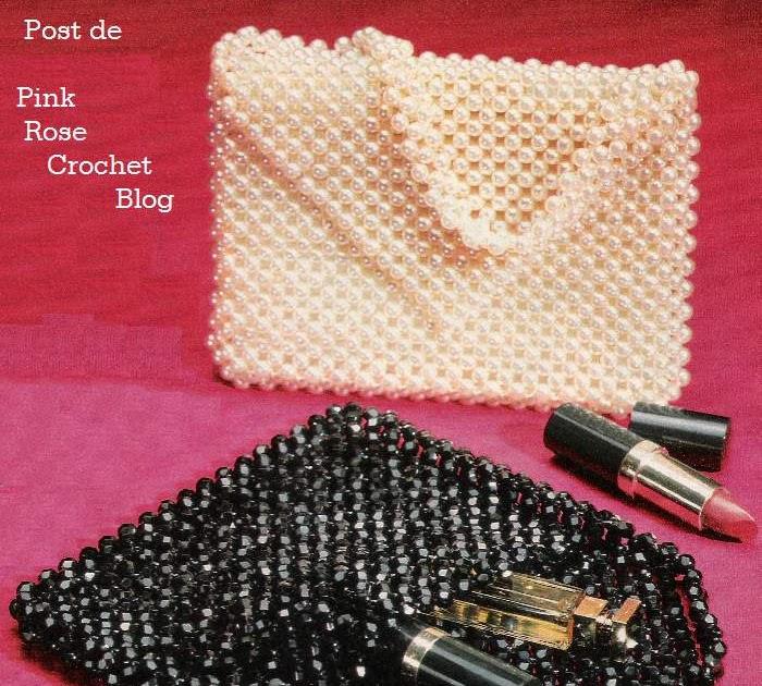 Bolsa De Festa Rosê : Pink rose crochet bolsa biju de festa beaded purse