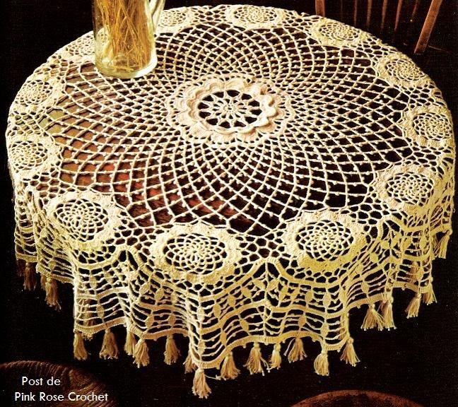 Pink Rose Crochet Toalha De Mesa Redonda Com Franjas Croch 234