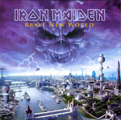 This Iron Maiden album art is actually pretty close to what Id pictured the city to look like. Maybe without the cloud demon, but thats metal, baby.