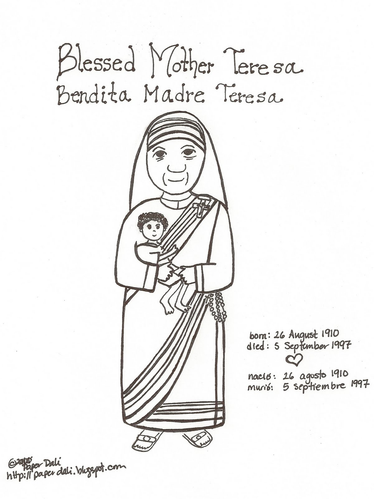 Paper dali happy birthday mother teresa for Mother teresa coloring page