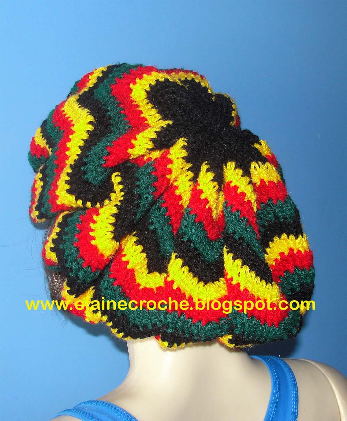 Boina Jamaica   Reggae usando fio acrílico e agulha Crochê Clover 4 d4bce6b8fba