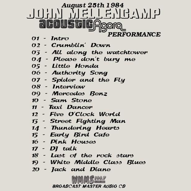 Sharing Needles: JOHN MELLENCAMP LIVE CLEVELAND AGORA '84