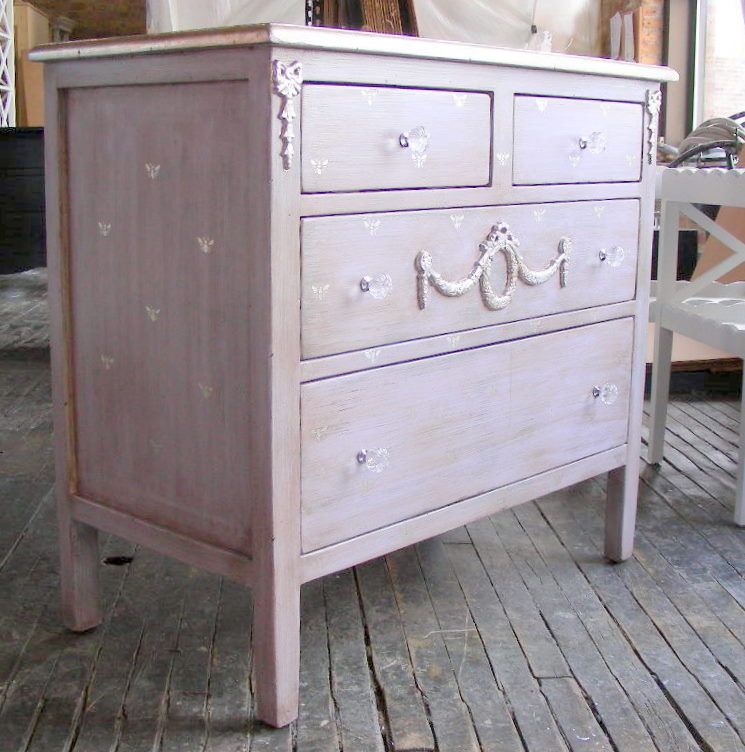 Silver Dresser: Painted Furniture: Dresser With Silver