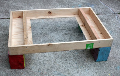 To Use This Outside With The Sand I Just Propped It Up On Four Of Our Giant Wooden Blocks And Put A Desk Lamps Under Table An Extension