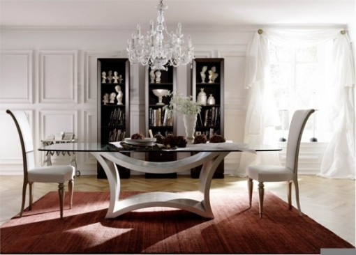 Of Futuristic Glass Dining Table With Chairs Of Modern Interior Design