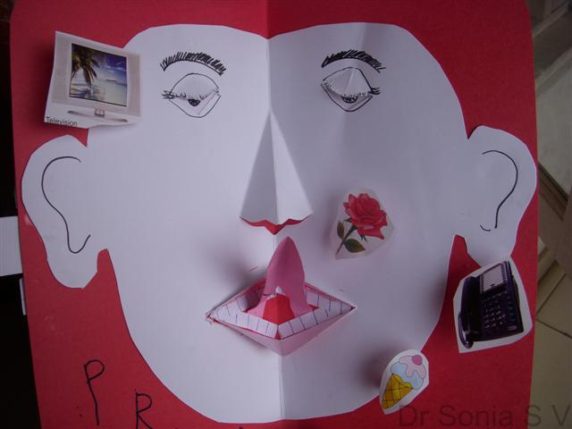 Cards crafts kids projects pop up card face school project for Pop up card craft