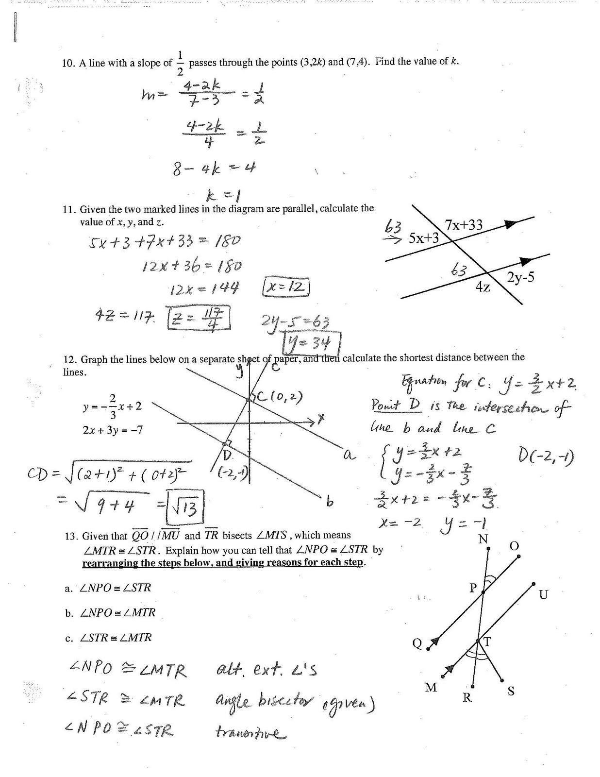 Worksheets Geometry Review Worksheets Waytoohuman Free