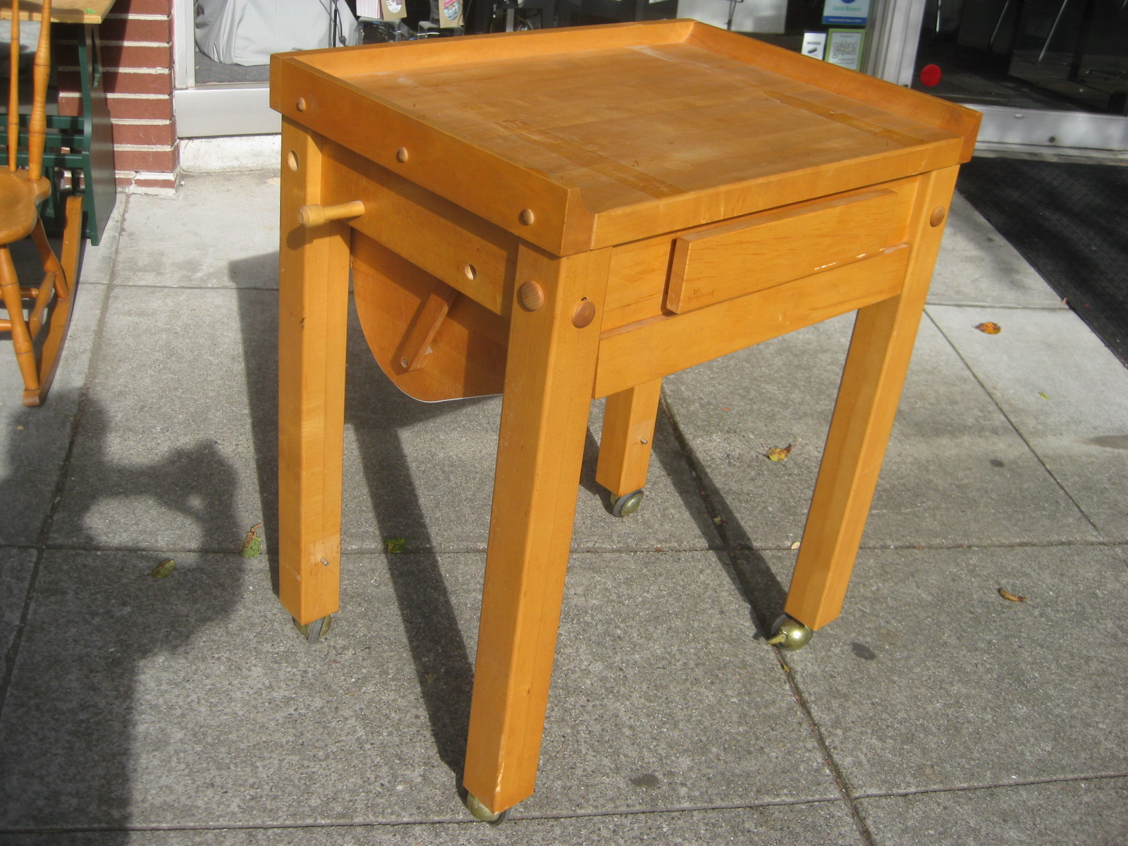 Uhuru Furniture Collectibles Sold Rolling Le Gourmand Butcher Block Table 150