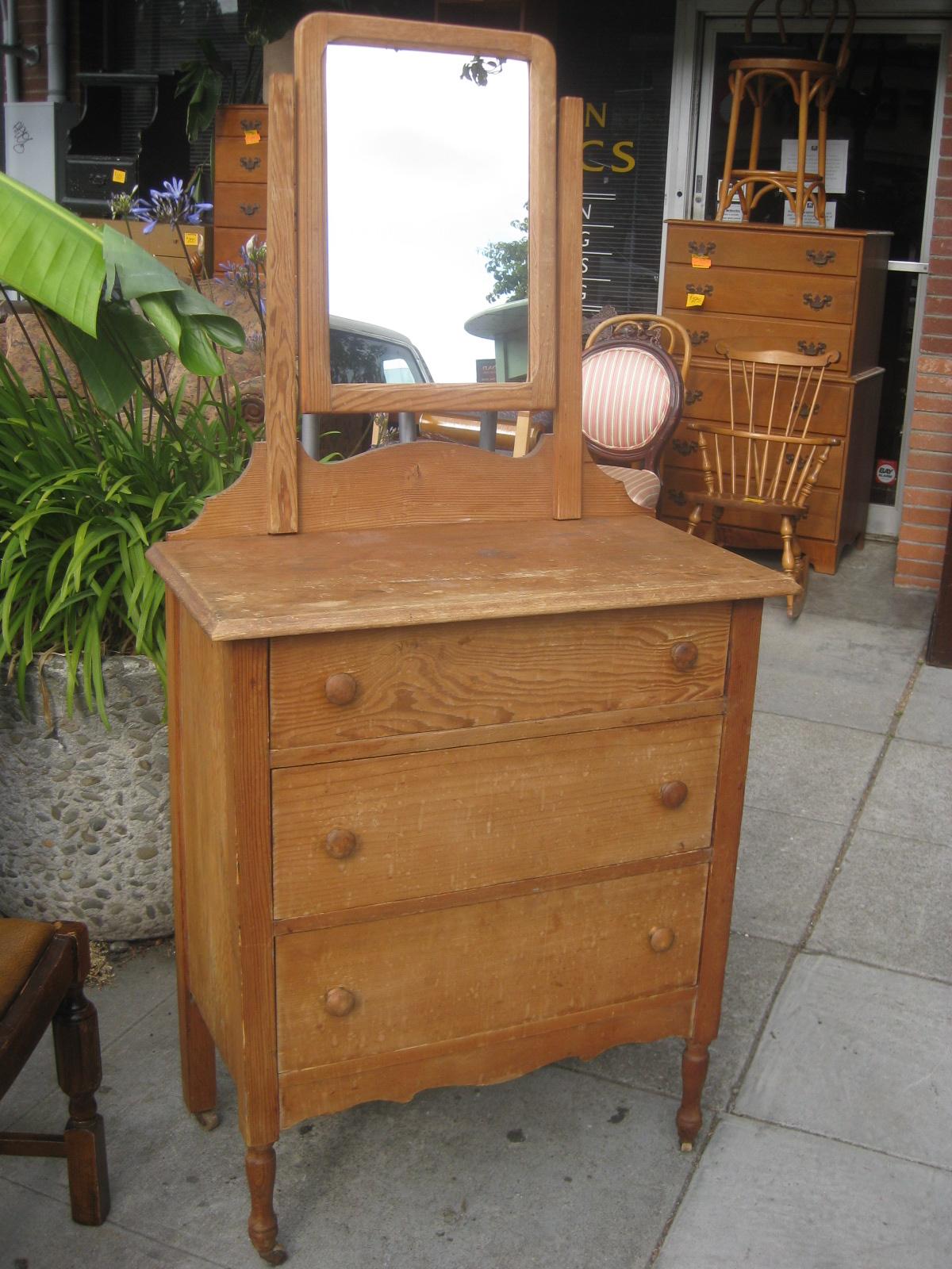 Sold Antique Pine Dresser And Mirror 100