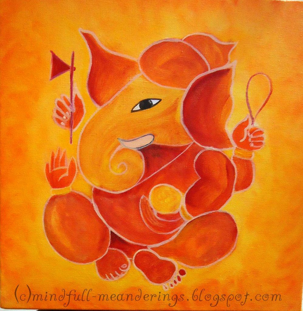 Acrylic On Canvas Ganesha Art Step By