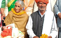 Rajo Devi and her husband had fertility treatment before she gave birth aged 70  Photo- AFP