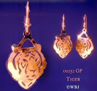 tiger earrings jewelry gold french curve