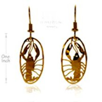 crayfish earrings gold jewelry french curve