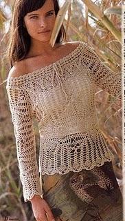 dca35d830f Fada do Crochet  BLUSA COR NATURAL PONTO PINHA