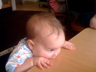 Mason chewing on the table