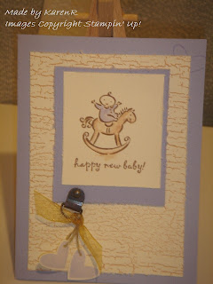 Stampin Up and Greetings galore and baby card