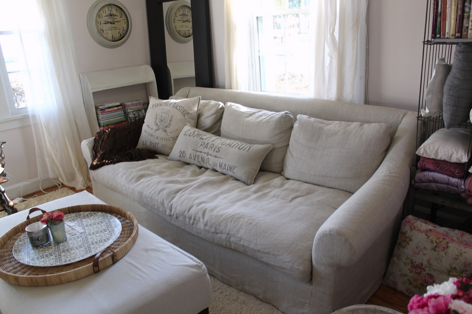 belgian linen sofa rust colored set restoration hardware track arm