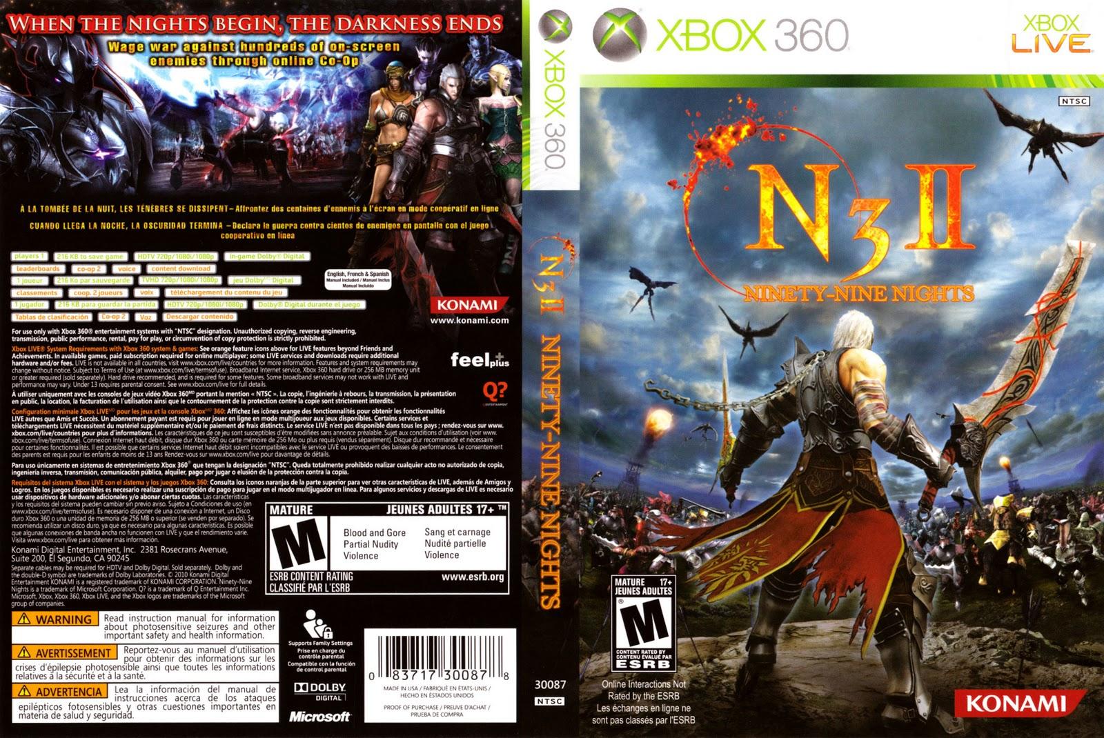 Capa N3 II Ninety-Nine Nights Xbox 360