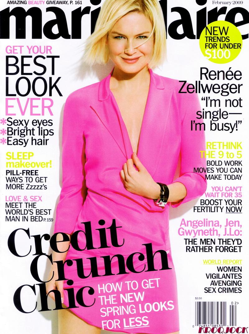 Renee Zellweger on Marie Claire February 2009