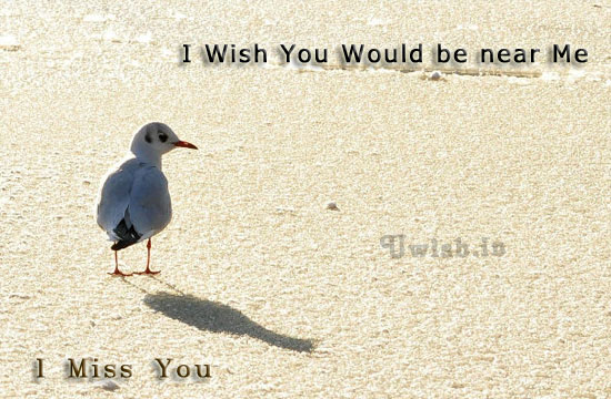 I wish you would be near me. I miss you.