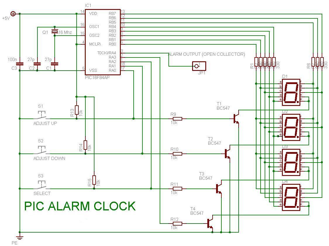 S . S . E *: PIC16F84 buat alarm clock Alarm Clock Schematic Diagram on