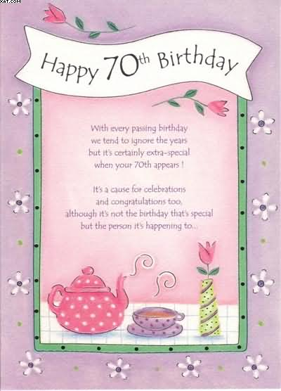 Free 70th Birthday Greetings Cards