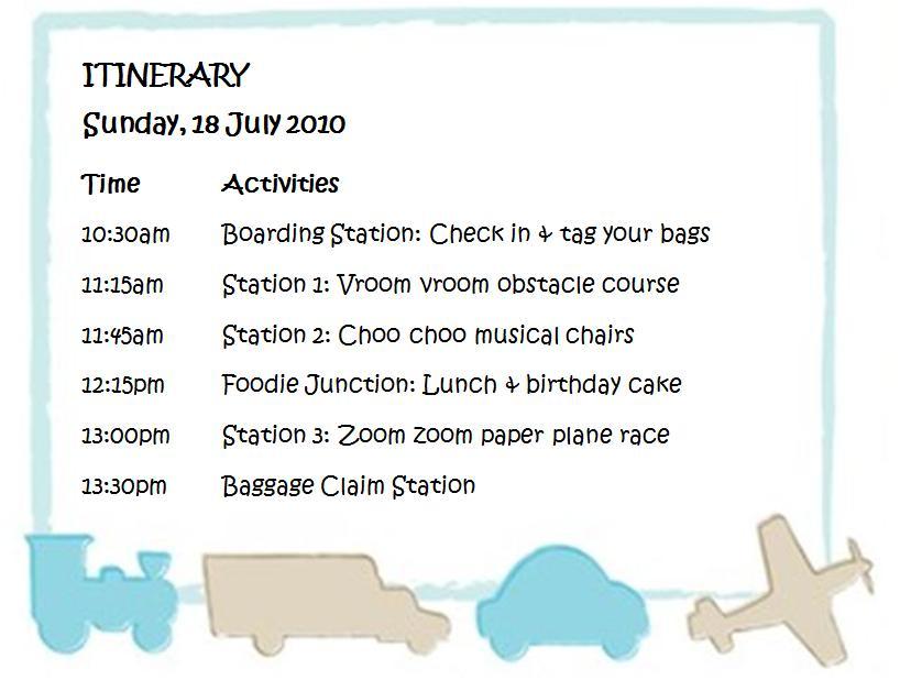 Transportation Party Itinerary  Birthday Itinerary Template