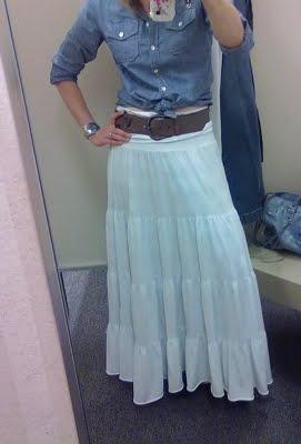 MY LITTLE SECRET PLACE: F21 Bohemian Long Skirt in White