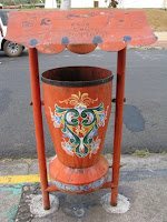 painted trash can in Sarchi