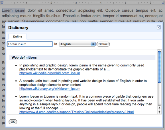 If You Select A Word In Your Doc, You Can Look Up The Definition For That  Word By Going To Tools  U003e Define.