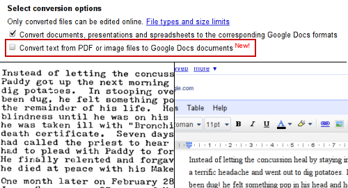 Google Drive Blog: Optical character recognition (OCR) in