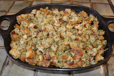 Herbed chestnut stuffing with cranberries