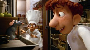 Still from movie, Remy and Linguini in kitchen, courtesy of Pixar