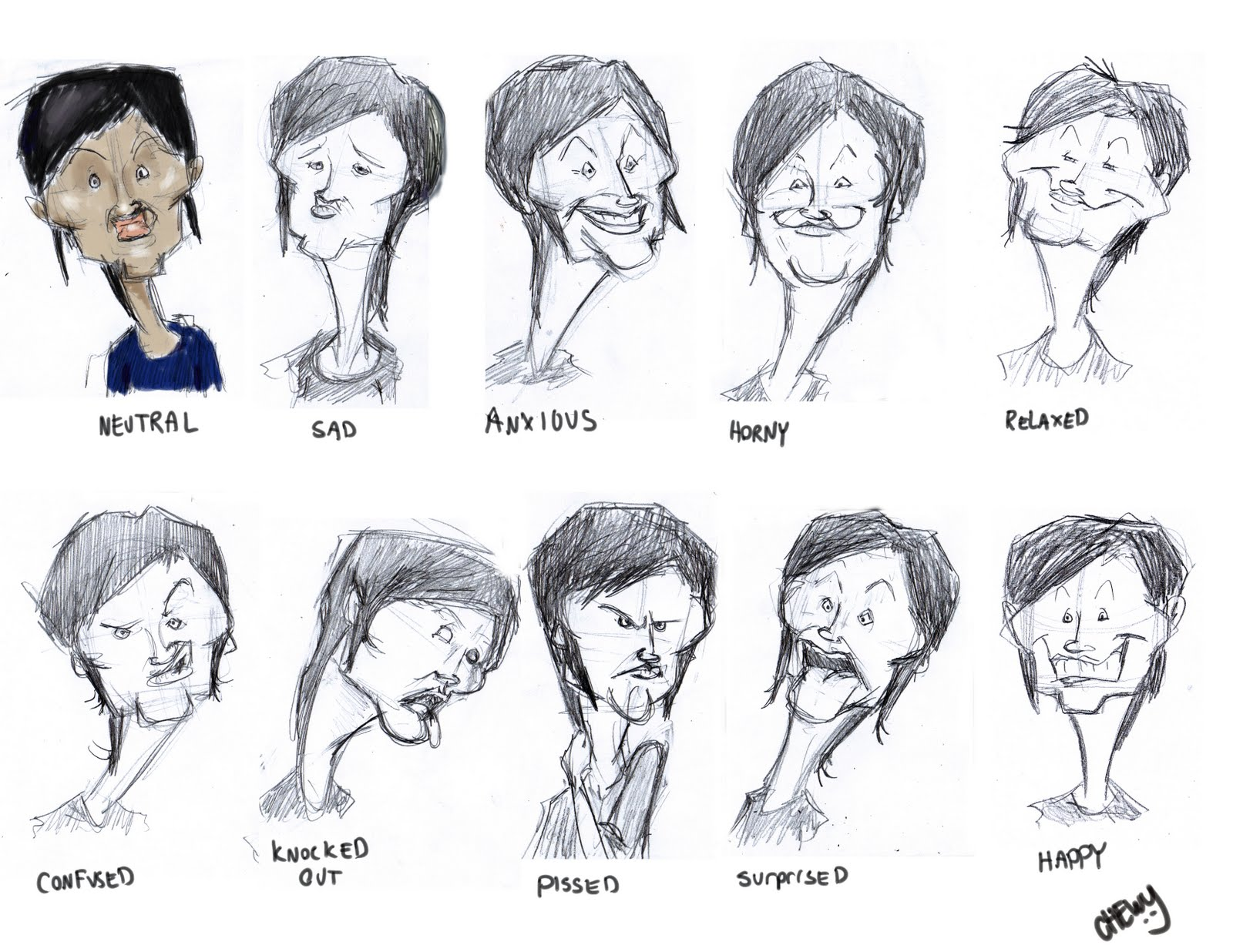 Chewiosity: Rough Character Model Sheets