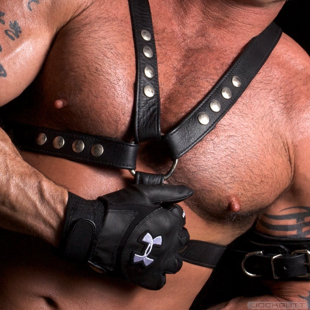 Sexy leather daddy brian bonds fisting guy on swing 9