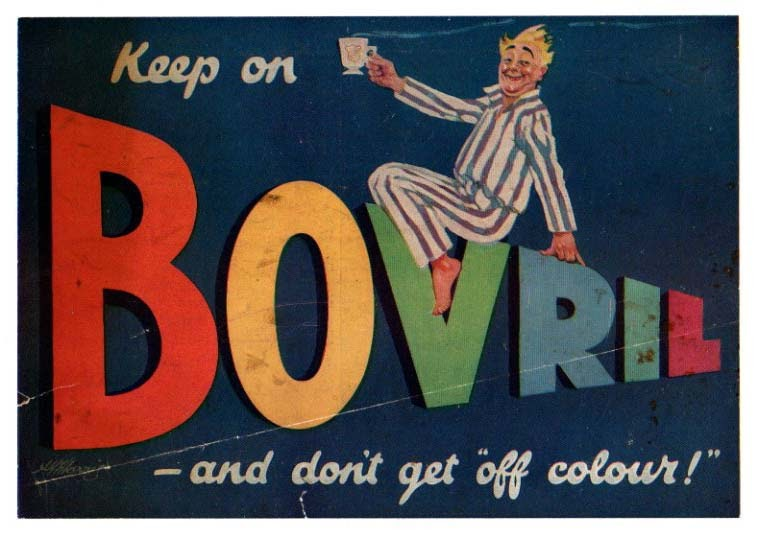 Vintage advertising poster reproduction. Bovril Beef extract