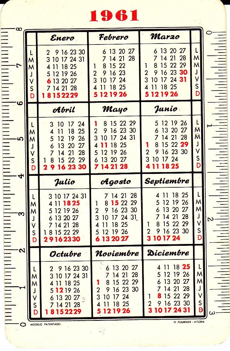 Calendario Del 1961.Colecciono Calendarios Mis Fournier De 1961