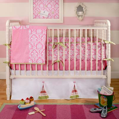 Nursery Notations Pink Amp Green Nursery Bedding