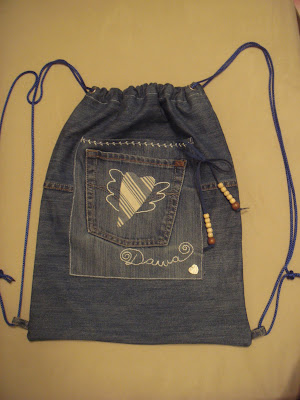 брюки для малыша из старых джинс.