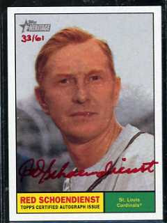 2010 Topps Heritage Red Schoendienst Red Auto