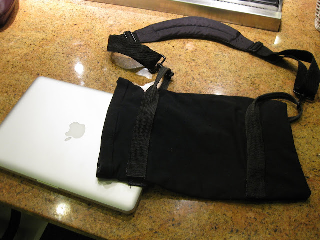 DIY laptop case next to macbook pro