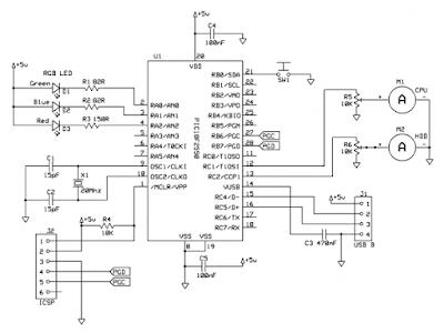 pic18f2550 usb performans devre şeması