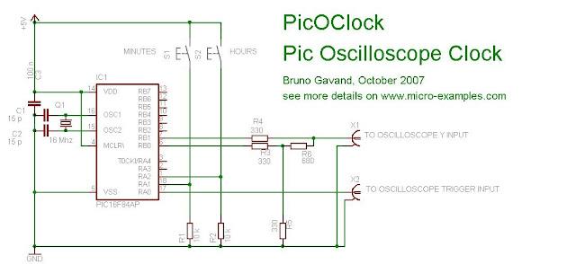 pic16f84 osiloskop saat devre şeması