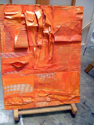 Fever Dream by Tiffany Gholar. Orange and copper acrylic paint on recycled cardboard and paper