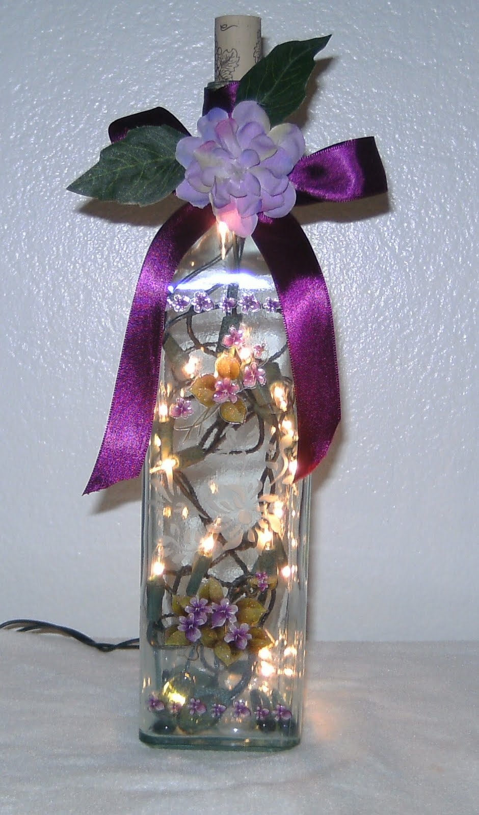 Elegant Wine Bottles Ribbon Lighted Wine Bottle