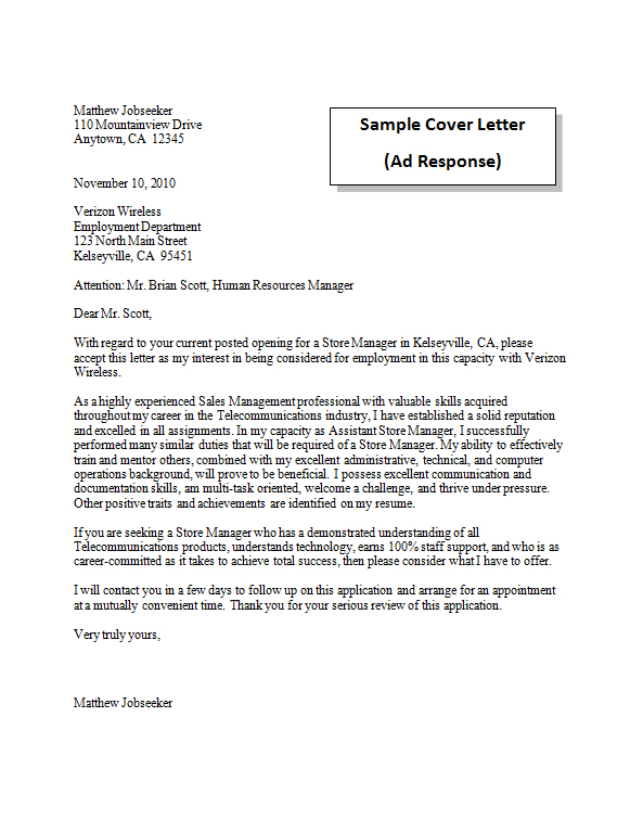 Cover letter in response to newspaper ad  i write essays