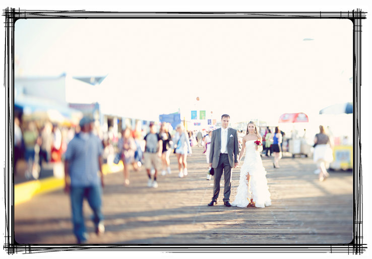To Get Married After Their Ceremony The Headed Out Santa Monica Pier Shoot A Fun Session With Leila Of Olive Juice Photography