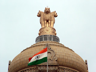 Indian Flag in Vidhaana Soudha, Bangalore