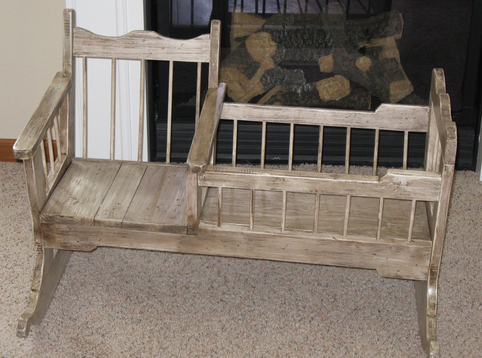 rocking chair crib combo living room with ottoman rustic woods and cradle rocker for baby dolls